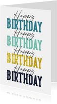 Geburtstagskarte 'Happy Birthday' mehrfarbig