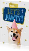 Geburtstagskarte Hund 'Let's pawty'