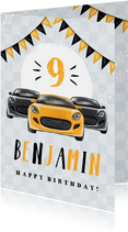 Geburtstagskarte Kind Autos & Wimpel