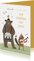 Geburtstagskarte Kind Tierorchester