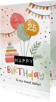 Geburtstagskarte Luftballons und Torte