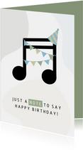 Geburtstagskarte Musiknote mit Partyhut blau
