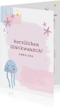 Geburtstagskarte Qualle & Seesterne