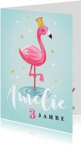 Geburtstagskarte rosa Flamingo mit Krone