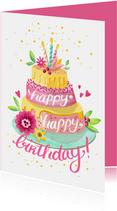 Geburtstagskarte Torte 'Happy happy birthday'