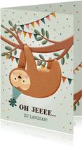 Geburtstagskarte Zu spät Faultier
