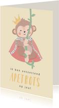 Gele kaart met getekende aap 'apetrots op jou'!