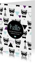 Vriendschap kaarten - geometrisch hipster beer kaartje