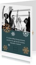 Geschäftliche Weihnachtskarte Foto und Schneeflocken