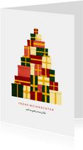 Geschäftliche Weihnachtskarte mit Baum aus Geschenken