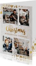 Geschäftliche Weihnachtskarte mit Fotos auf Holz