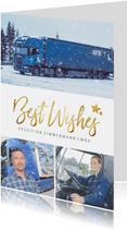 Geschäftliche Weihnachtskarte mit Fotos Spedition