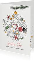Geschäftliche Weihnachtskarte mit 'Gärtnerei' Icons