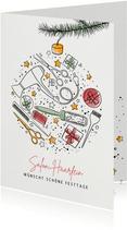 Geschäftliche Weihnachtskarte mit Icons 'Friseur'