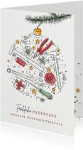 """Geschäftliche Weihnachtskarte mit Icons """"Mechanik"""""""
