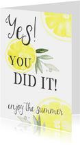 Geslaagd kaart citroen