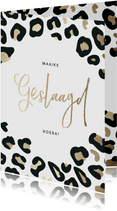 Geslaagd kaart gouden 'Geslaagd' met panterprint