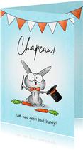 Geslaagd kaart lief goochelaar konijntje met hoed - Chapeau!