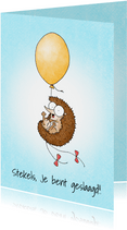 Geslaagd kaart met een egeltje aan een gele ballon