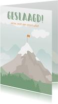 Geslaagd kaart met tekening van een berg.