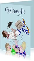 Geslaagd kaart Student in de lucht