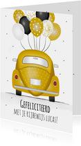 Geslaagd kaart voor rijbewijs met gele kever en ballonnen