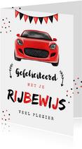 Geslaagd rijbewijs feestelijk sportwagen rood