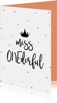 Glückwunschkarte zum 1. Geburtstag 'Miss ONEderful'