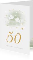 Glückwunschkarte zur goldenen Hochzeit Tauben goldene Herzen