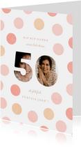 Glückwunschkarte 50. Geburtstag rosa Foto-50