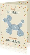 Glückwunschkarte Ballon-Hund und Konfetti
