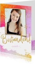 Glückwunschkarte 'Bestanden' rosa mit Foto