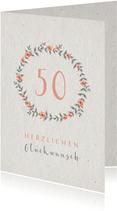 Glückwunschkarte Blumenkranz mit Zahl