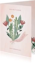 Glückwunschkarte Blumenstrauß mit Band