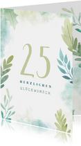 Glückwunschkarte botanisch mit austauschbarer Jahrzahl