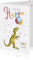 Glückwunschkarte Dino und buntes Konfetti
