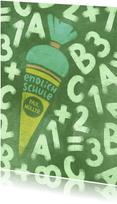 Glückwunschkarte Einschulung Schultüte und Tafel