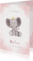 Glückwunschkarte Elefant Geburt rosa