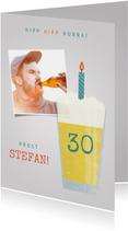 Glückwunschkarte Geburtstag Bier mit Kerze und Foto