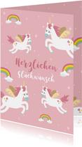 Glückwunschkarte Geburtstag Einhörner und Regenbogen