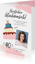 Glückwunschkarte Geburtstag Frau Kerzen auf Torte