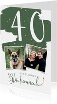 Glückwunschkarte Geburtstag grün Farbklecks & Fotos