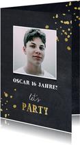 Glückwunschkarte Geburtstag mit Foto Let's party