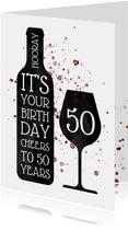 Glückwunschkarte Geburtstag mit Weinflasche