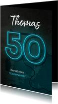 Glückwunschkarte Geburtstag Neon 50