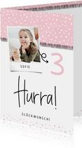 Glückwunschkarte Geburtstag rosa grafisch mit Foto
