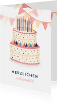 Glückwunschkarte Geburtstag Torte mit Kerzen