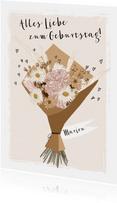 Glückwunschkarte Geburtstag Trockenblumen