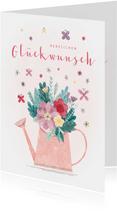 Glückwunschkarte Gießkanne mit Blumen