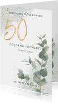 Glückwunschkarte Goldene Hochzeit Eukalyptus